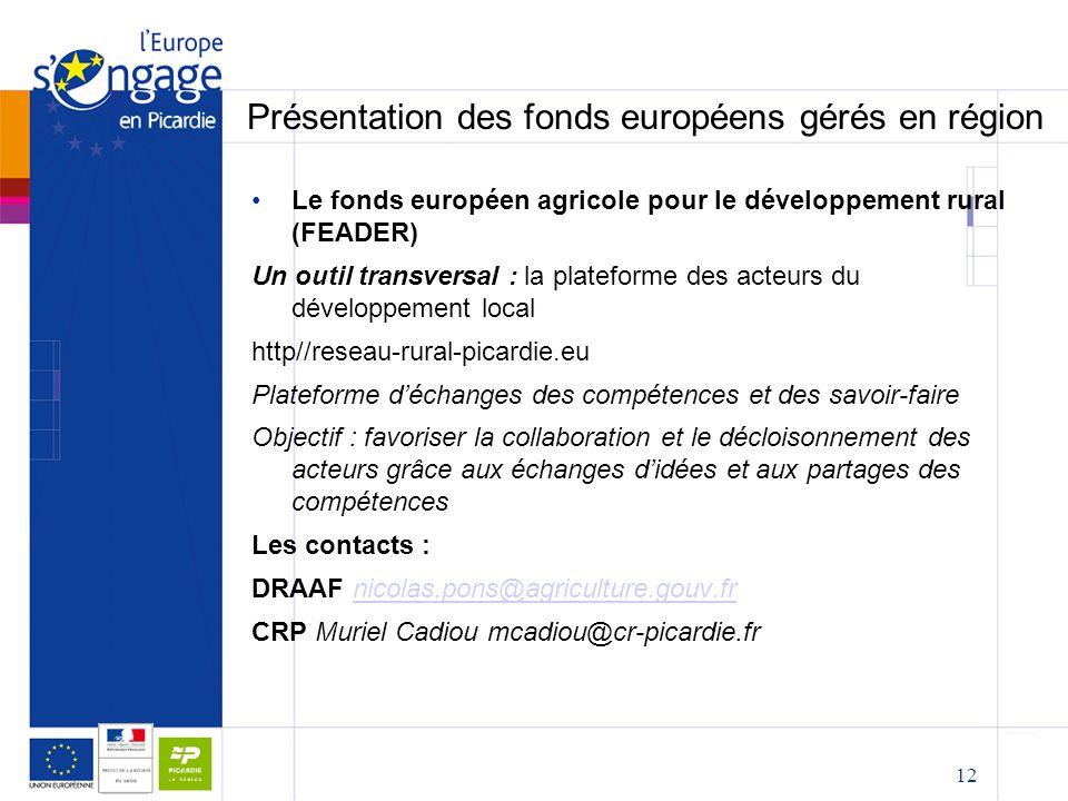 12 Présentation des fonds européens gérés en région Le fonds européen agricole pour le développement rural (FEADER) Un outil transversal : la platefor