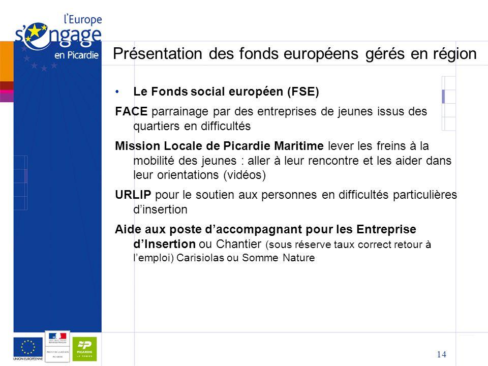 14 Présentation des fonds européens gérés en région Le Fonds social européen (FSE) FACE parrainage par des entreprises de jeunes issus des quartiers e