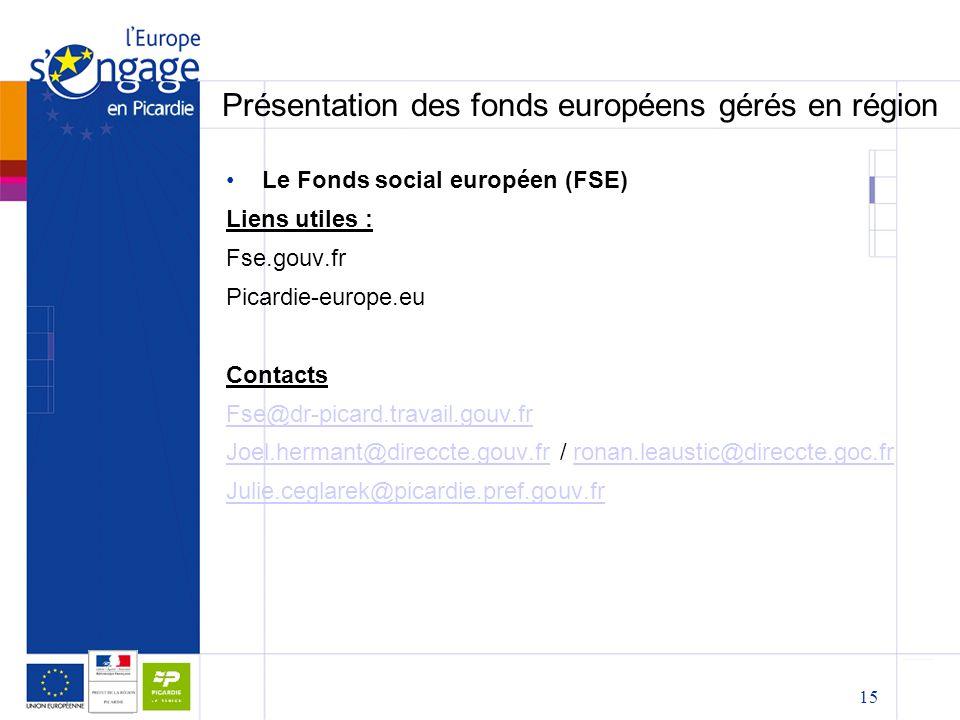 15 Présentation des fonds européens gérés en région Le Fonds social européen (FSE) Liens utiles : Fse.gouv.fr Picardie-europe.eu Contacts Fse@dr-picard.travail.gouv.fr Joel.hermant@direccte.gouv.frJoel.hermant@direccte.gouv.fr / ronan.leaustic@direccte.goc.frronan.leaustic@direccte.goc.fr Julie.ceglarek@picardie.pref.gouv.fr