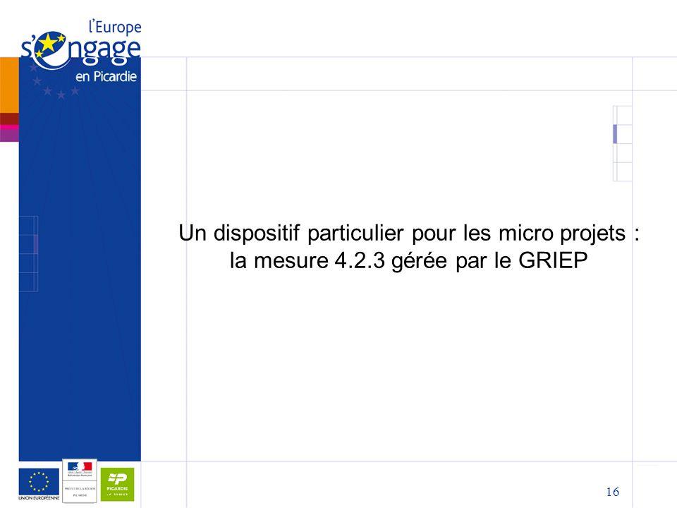 16 Un dispositif particulier pour les micro projets : la mesure 4.2.3 gérée par le GRIEP