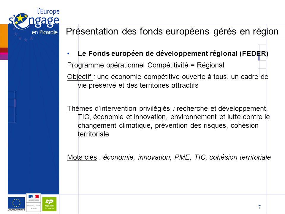 7 Présentation des fonds européens gérés en région Le Fonds européen de développement régional (FEDER) Programme opérationnel Compétitivité = Régional