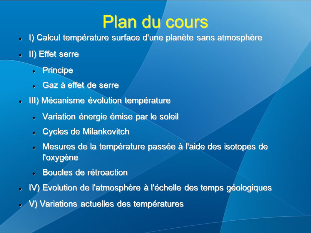 Plan du cours I) Calcul température surface d'une planète sans atmosphère I) Calcul température surface d'une planète sans atmosphère II) Effet serre