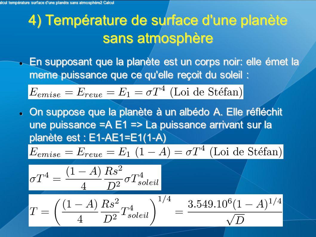 4) Température de surface d une planète sans atmosphère En supposant que la planète est un corps noir: elle émet la meme puissance que ce qu elle reçoit du soleil : En supposant que la planète est un corps noir: elle émet la meme puissance que ce qu elle reçoit du soleil : On suppose que la planète à un albédo A.