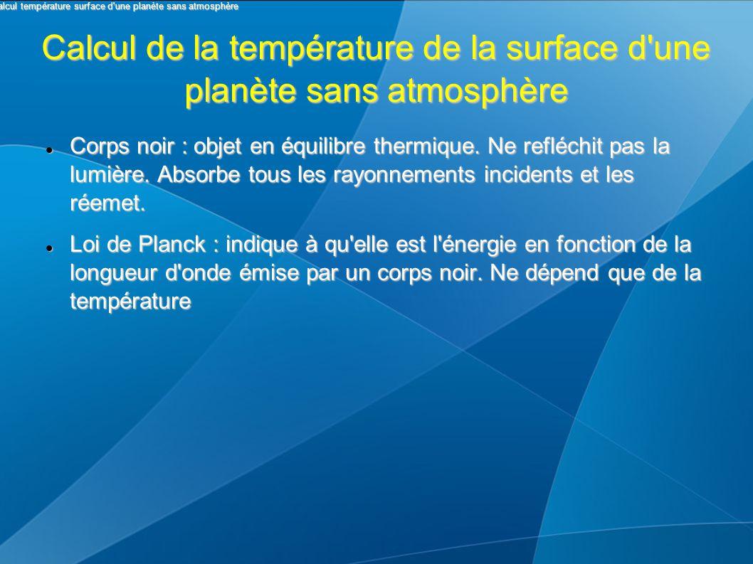 Calcul de la température de la surface d'une planète sans atmosphère Corps noir : objet en équilibre thermique. Ne refléchit pas la lumière. Absorbe t