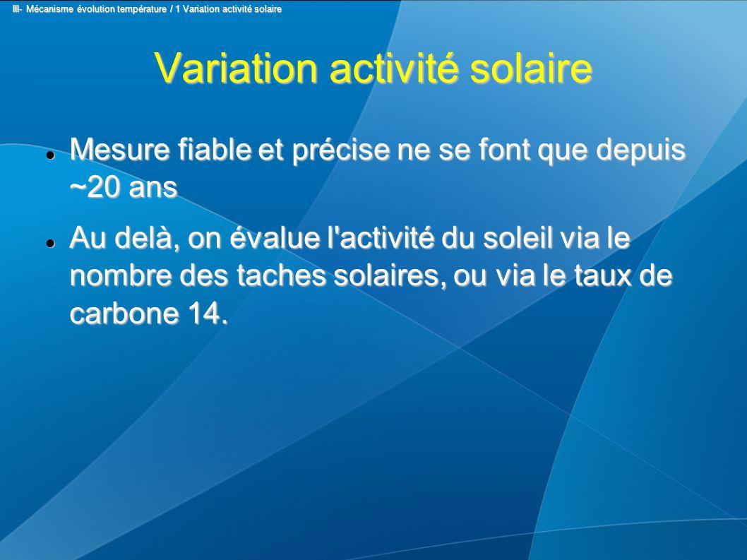 Variation activité solaire Mesure fiable et précise ne se font que depuis ~20 ans Mesure fiable et précise ne se font que depuis ~20 ans Au delà, on évalue l activité du soleil via le nombre des taches solaires, ou via le taux de carbone 14.