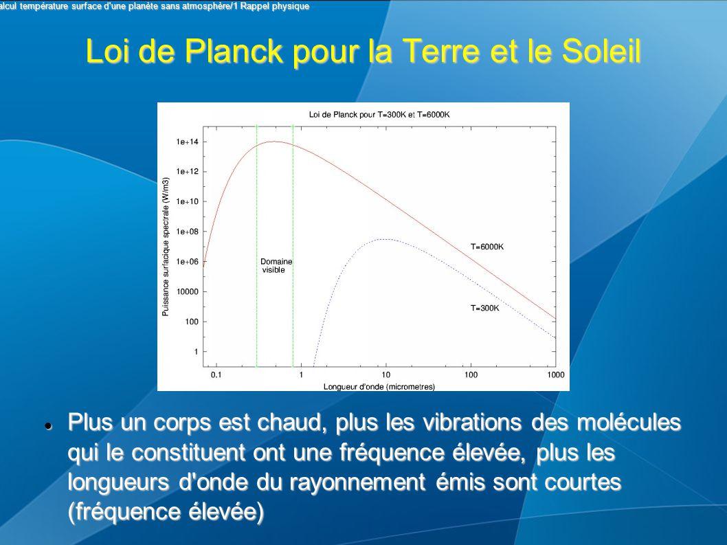 Loi de Planck pour la Terre et le Soleil Plus un corps est chaud, plus les vibrations des molécules qui le constituent ont une fréquence élevée, plus les longueurs d onde du rayonnement émis sont courtes (fréquence élevée) Plus un corps est chaud, plus les vibrations des molécules qui le constituent ont une fréquence élevée, plus les longueurs d onde du rayonnement émis sont courtes (fréquence élevée) I Calcul température surface d une planète sans atmosphère/1 Rappel physique