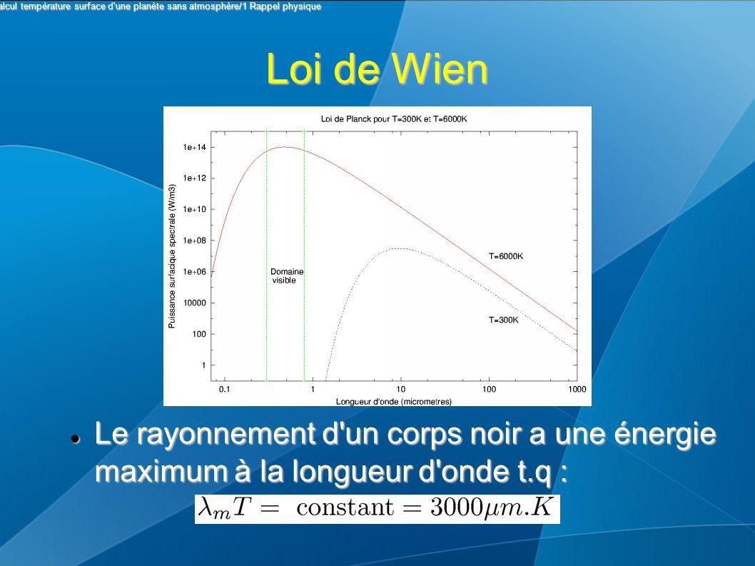 Loi de Wien Le rayonnement d un corps noir a une énergie maximum à la longueur d onde t.q : Le rayonnement d un corps noir a une énergie maximum à la longueur d onde t.q : I Calcul température surface d une planète sans atmosphère/1 Rappel physique