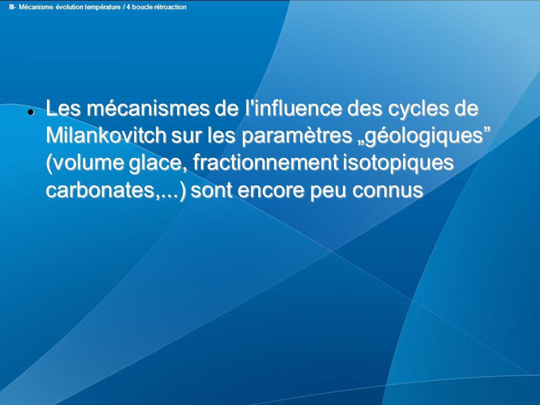 """Les mécanismes de l influence des cycles de Milankovitch sur les paramètres """"géologiques (volume glace, fractionnement isotopiques carbonates,...) sont encore peu connus Les mécanismes de l influence des cycles de Milankovitch sur les paramètres """"géologiques (volume glace, fractionnement isotopiques carbonates,...) sont encore peu connus III- Mécanisme évolution température / 4 boucle rétroaction III- Mécanisme évolution température / 4 boucle rétroaction"""