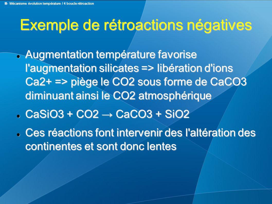 Exemple de rétroactions négatives Augmentation température favorise l augmentation silicates => libération d ions Ca2+ => piège le CO2 sous forme de CaCO3 diminuant ainsi le CO2 atmosphérique Augmentation température favorise l augmentation silicates => libération d ions Ca2+ => piège le CO2 sous forme de CaCO3 diminuant ainsi le CO2 atmosphérique CaSiO3 + CO2 → CaCO3 + SiO2 CaSiO3 + CO2 → CaCO3 + SiO2 Ces réactions font intervenir des l altération des continentes et sont donc lentes Ces réactions font intervenir des l altération des continentes et sont donc lentes III- Mécanisme évolution température / 4 boucle rétroaction III- Mécanisme évolution température / 4 boucle rétroaction
