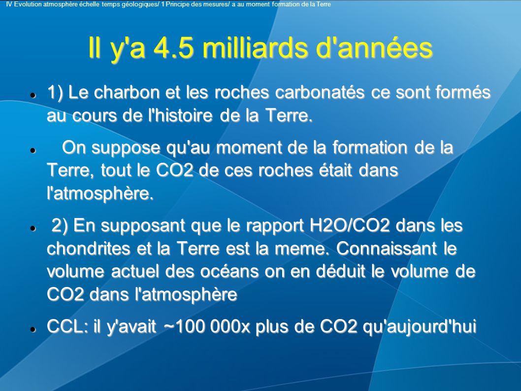 Il y a 4.5 milliards d années 1) Le charbon et les roches carbonatés ce sont formés au cours de l histoire de la Terre.