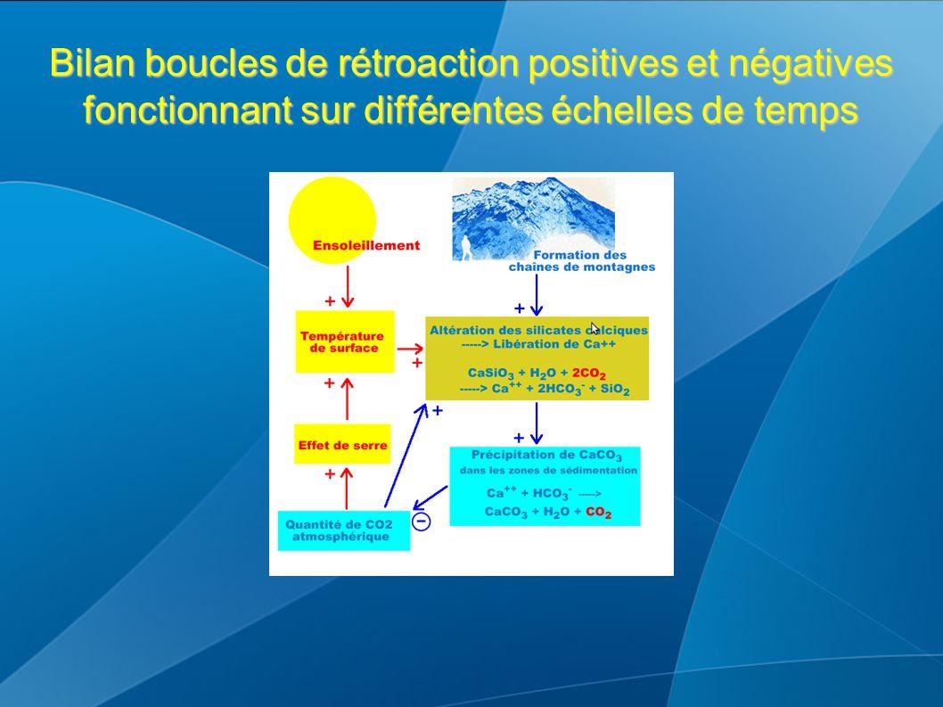 Bilan boucles de rétroaction positives et négatives fonctionnant sur différentes échelles de temps