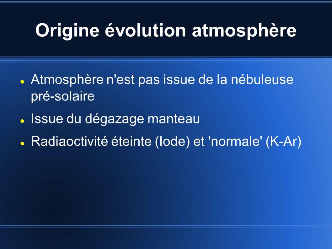 Origine évolution atmosphère Atmosphère n est pas issue de la nébuleuse pré-solaire Issue du dégazage manteau Radiaoctivité éteinte (Iode) et normale (K-Ar)