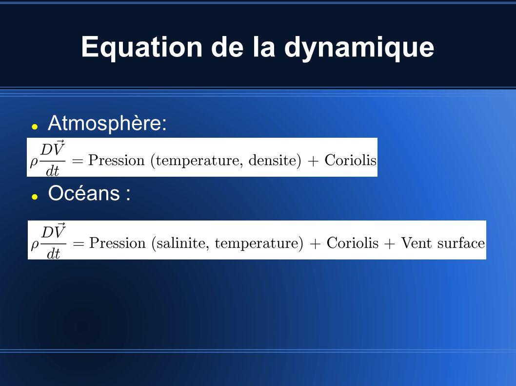 Equation de la dynamique Atmosphère: Océans :