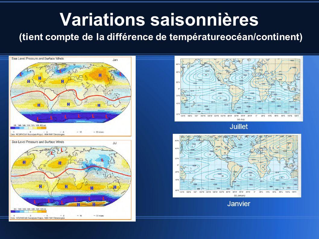 Variations saisonnières (tient compte de la différence de températureocéan/continent) Juillet Janvier