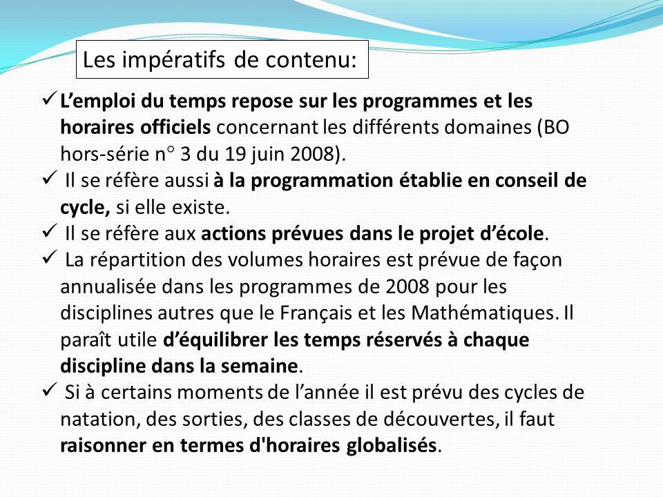Les impératifs de contenu: L'emploi du temps repose sur les programmes et les horaires officiels concernant les différents domaines (BO hors-série n° 3 du 19 juin 2008).