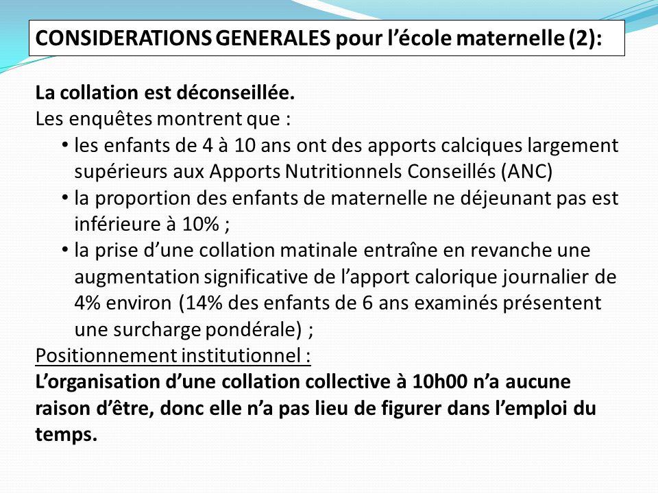 CONSIDERATIONS GENERALES pour l'école maternelle (2): La collation est déconseillée.