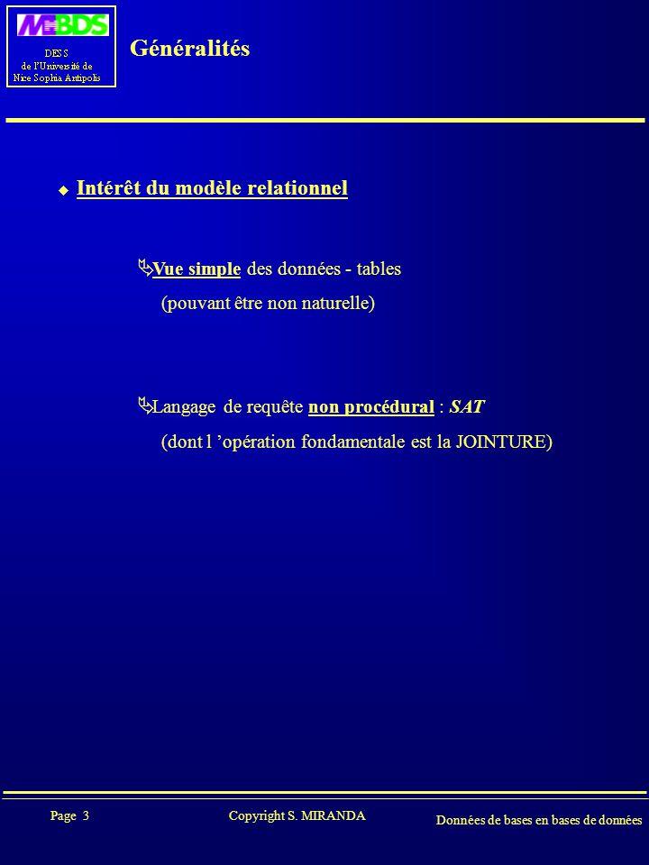 Page 4 Copyright S.MIRANDA Données de bases en bases de données Généralités  MODELE DE DONNEES .