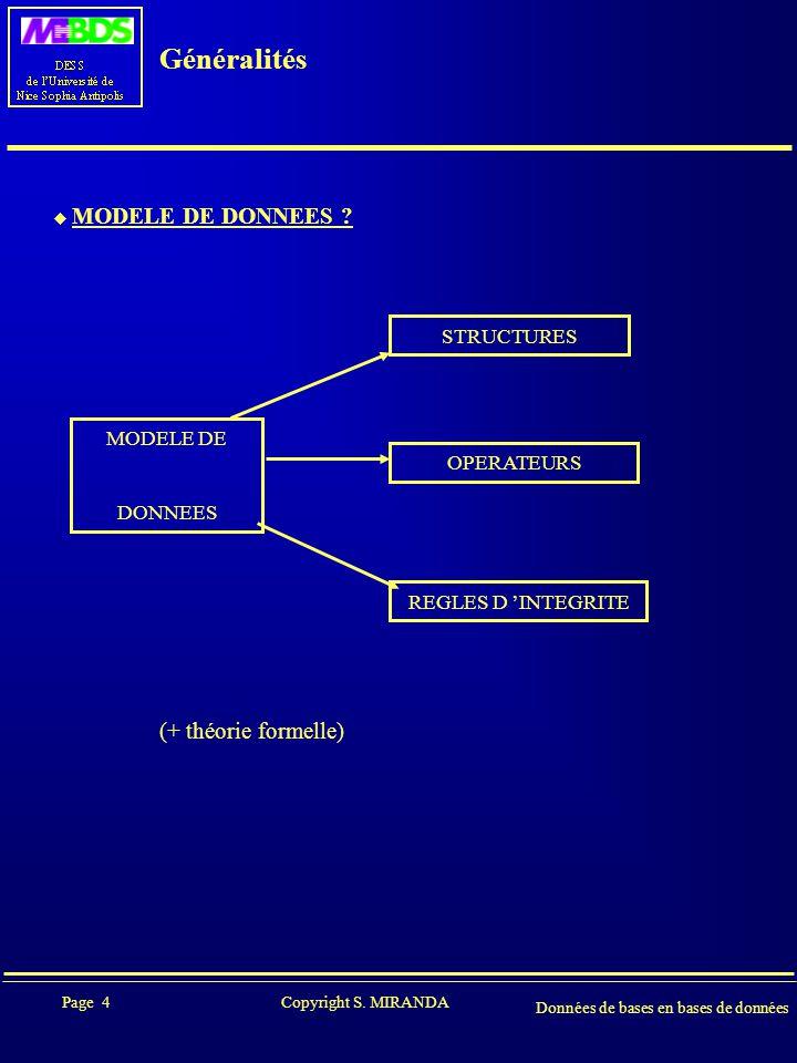 Page 4 Copyright S. MIRANDA Données de bases en bases de données Généralités  MODELE DE DONNEES ? STRUCTURES MODELE DE DONNEES OPERATEURS REGLES D 'I