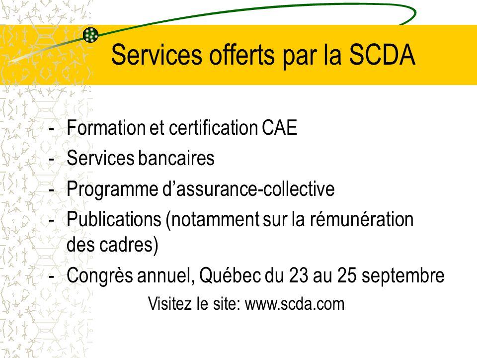 Services offerts par la SCDA -Formation et certification CAE -Services bancaires -Programme d'assurance-collective -Publications (notamment sur la rém