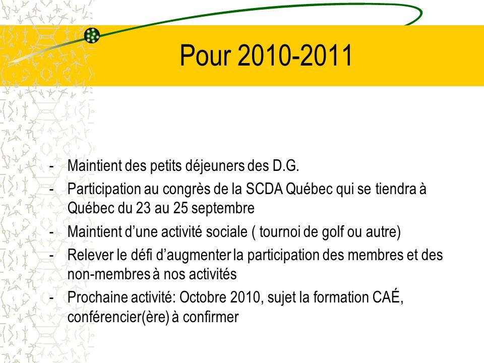 Pour 2010-2011 -Maintient des petits déjeuners des D.G. -Participation au congrès de la SCDA Québec qui se tiendra à Québec du 23 au 25 septembre -Mai