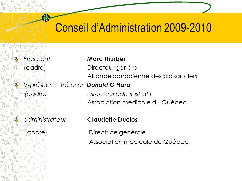 Conseil d'Administration 2009-2010 Président Marc Thurber (cadre)Directeur général Alliance canadienne des plaisanciers V-président, trésorier Donald