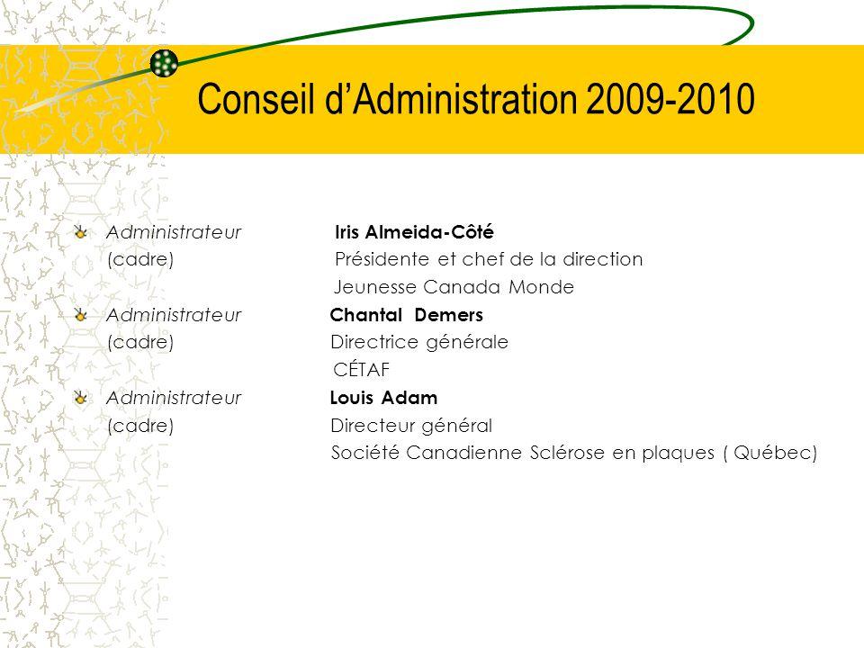Conseil d'Administration 2009-2010 Administrateur Iris Almeida-Côté (cadre) Présidente et chef de la direction Jeunesse Canada Monde Administrateur Ch