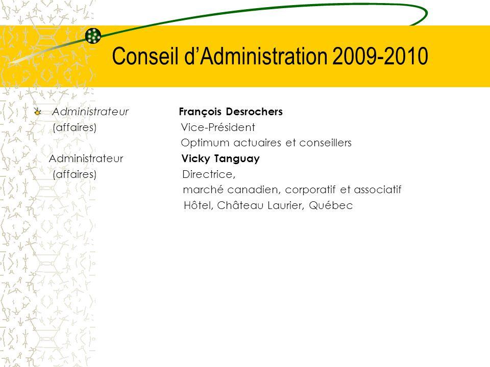 Administrateur François Desrochers (affaires)Vice-Président Optimum actuaires et conseillers Administrateur Vicky Tanguay (affaires) Directrice, march