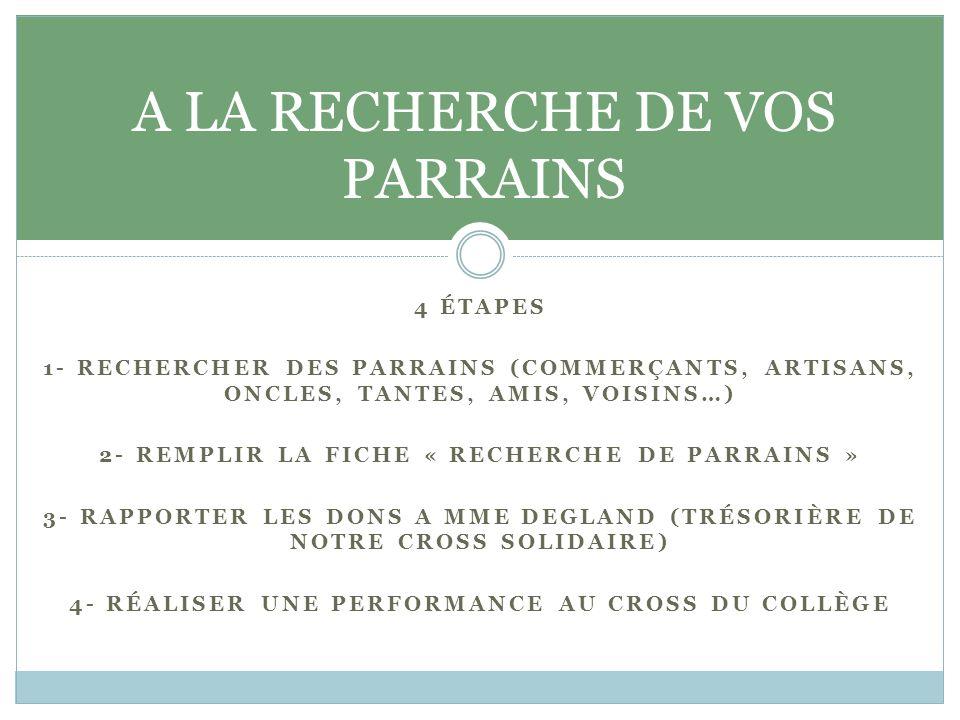 4 ÉTAPES 1- RECHERCHER DES PARRAINS (COMMERÇANTS, ARTISANS, ONCLES, TANTES, AMIS, VOISINS…) 2- REMPLIR LA FICHE « RECHERCHE DE PARRAINS » 3- RAPPORTER LES DONS A MME DEGLAND (TRÉSORIÈRE DE NOTRE CROSS SOLIDAIRE) 4- RÉALISER UNE PERFORMANCE AU CROSS DU COLLÈGE A LA RECHERCHE DE VOS PARRAINS
