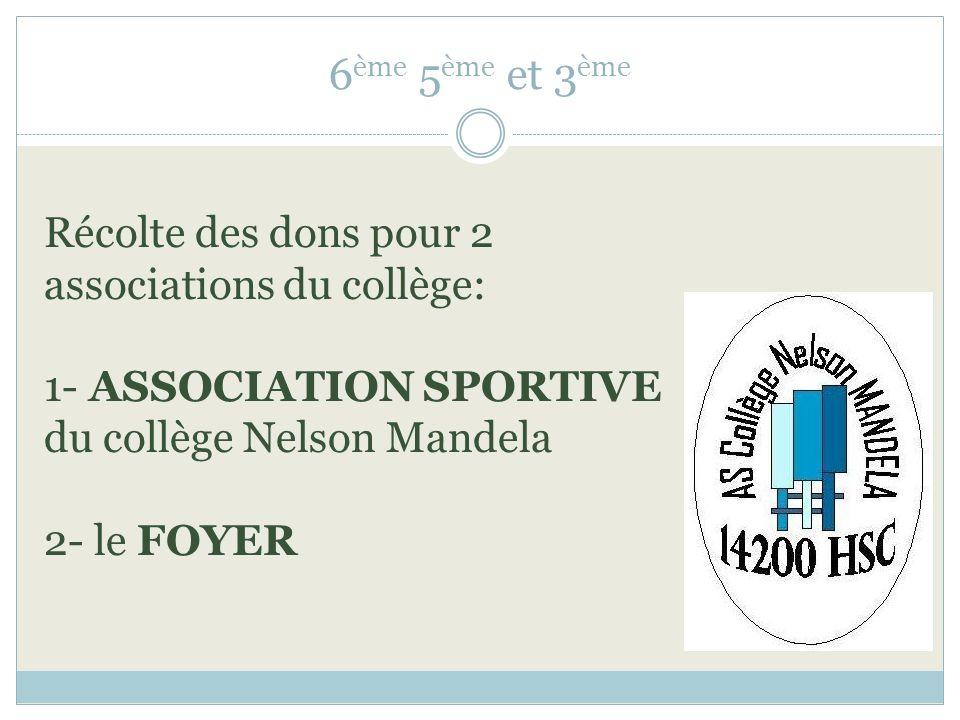6 ème 5 ème et 3 ème Récolte des dons pour 2 associations du collège: 1- ASSOCIATION SPORTIVE du collège Nelson Mandela 2- le FOYER