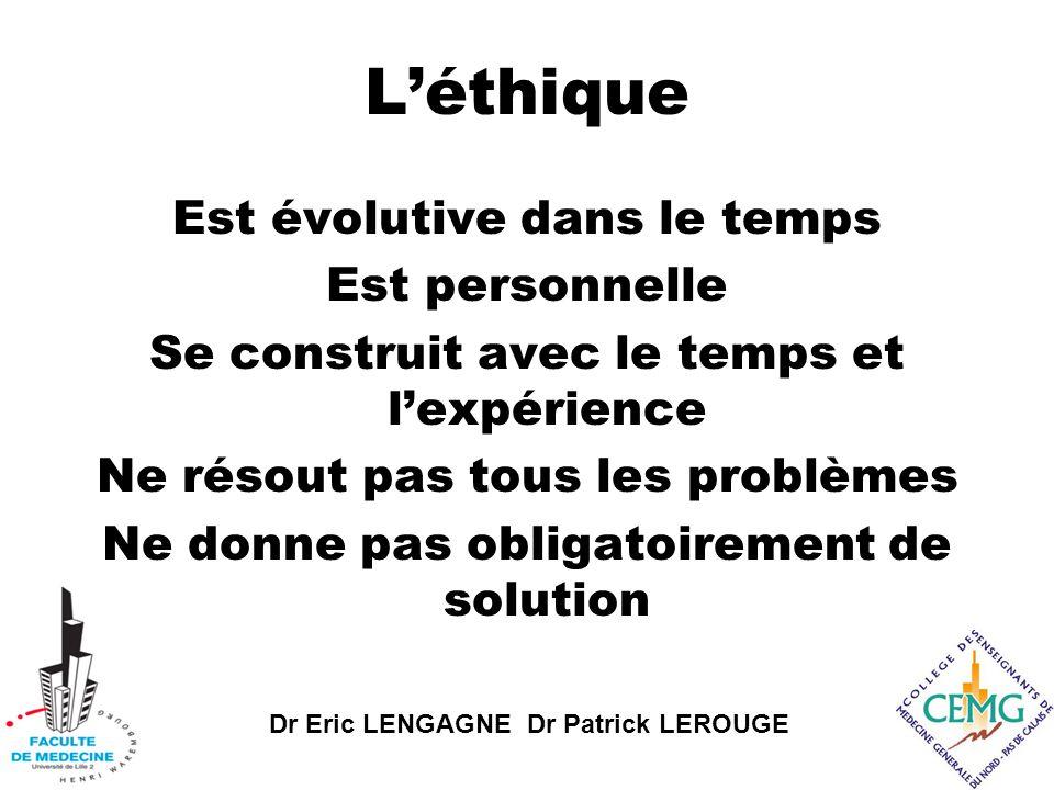 Dr Eric LENGAGNE Dr Patrick LEROUGE L'éthique Est évolutive dans le temps Est personnelle Se construit avec le temps et l'expérience Ne résout pas tous les problèmes Ne donne pas obligatoirement de solution