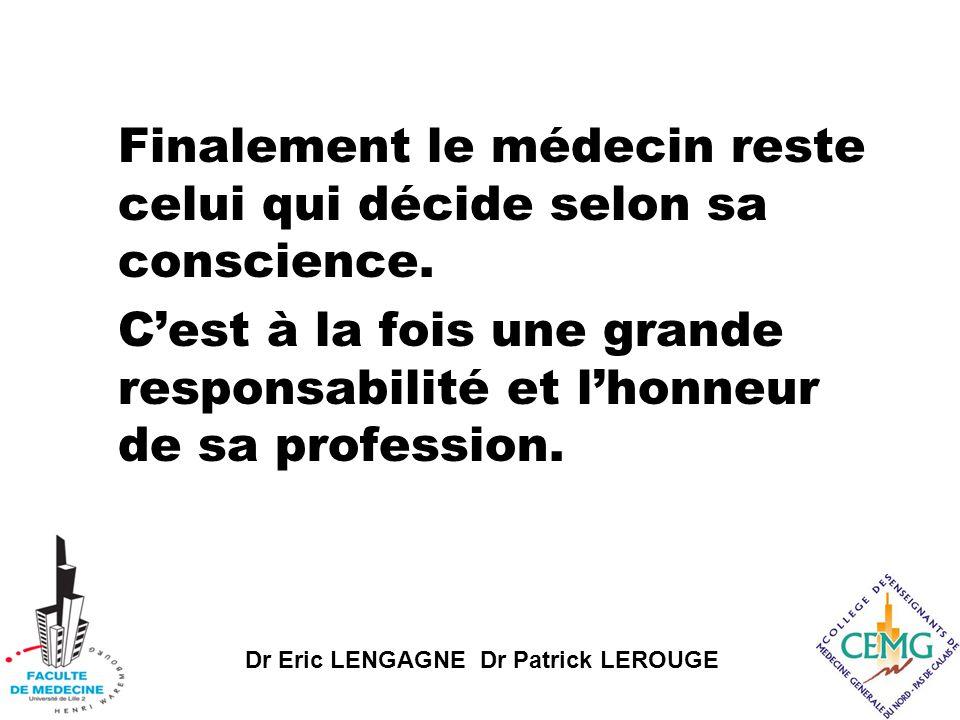 Dr Eric LENGAGNE Dr Patrick LEROUGE Finalement le médecin reste celui qui décide selon sa conscience.