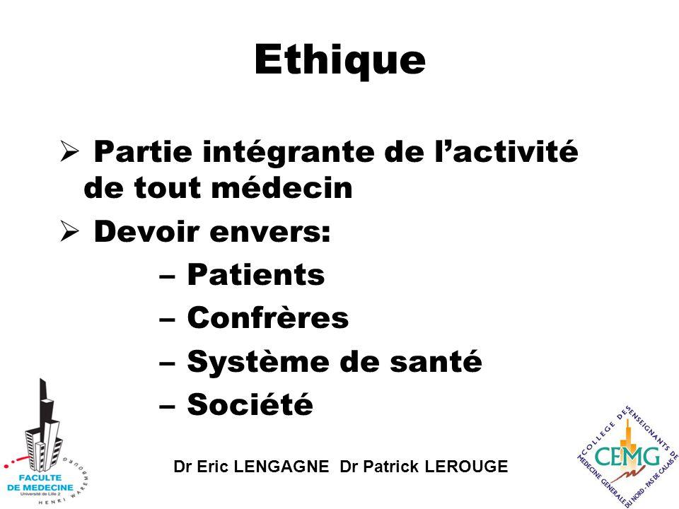 Dr Eric LENGAGNE Dr Patrick LEROUGE Ethique  Partie intégrante de l'activité de tout médecin  Devoir envers: – Patients – Confrères – Système de santé – Société