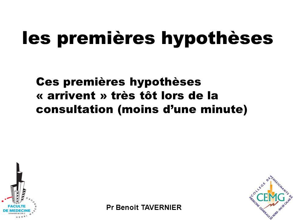 Pr Benoit TAVERNIER les premières hypothèses Ces premières hypothèses « arrivent » très tôt lors de la consultation (moins d'une minute)