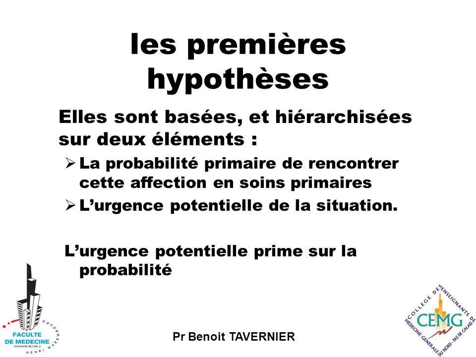 Pr Benoit TAVERNIER les premières hypothèses Elles sont basées, et hiérarchisées sur deux éléments :  La probabilité primaire de rencontrer cette affection en soins primaires  L'urgence potentielle de la situation.