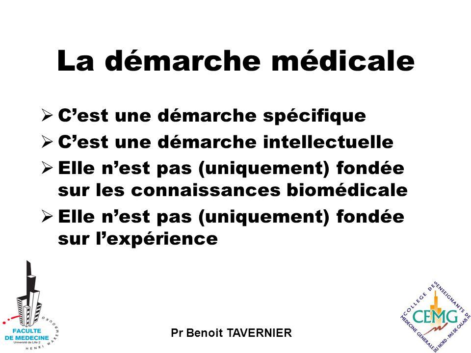 La démarche médicale  C'est une démarche spécifique  C'est une démarche intellectuelle  Elle n'est pas (uniquement) fondée sur les connaissances biomédicale  Elle n'est pas (uniquement) fondée sur l'expérience