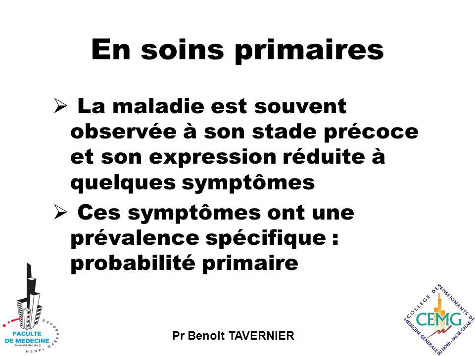 Pr Benoit TAVERNIER En soins primaires  La maladie est souvent observée à son stade précoce et son expression réduite à quelques symptômes  Ces symptômes ont une prévalence spécifique : probabilité primaire