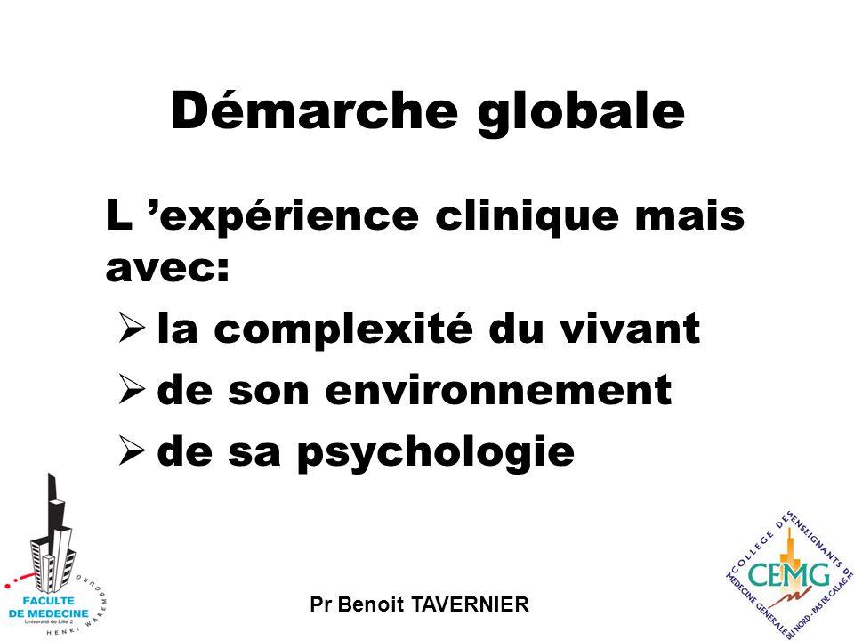 Pr Benoit TAVERNIER Démarche globale L 'expérience clinique mais avec:  la complexité du vivant  de son environnement  de sa psychologie