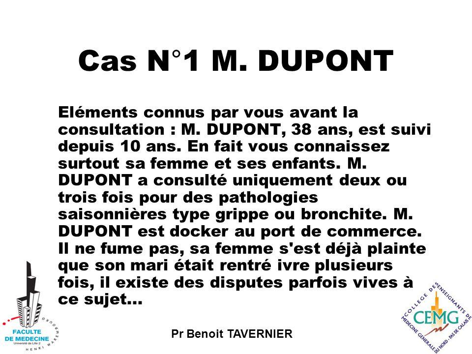 Pr Benoit TAVERNIER Cas N°1 M.DUPONT Eléments connus par vous avant la consultation : M.