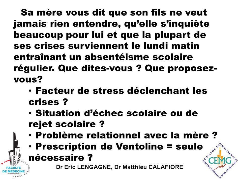 Dr Eric LENGAGNE, Dr Matthieu CALAFIORE Facteur de stress déclenchant les crises .