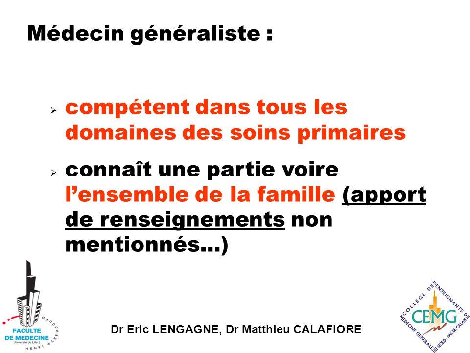 Dr Eric LENGAGNE, Dr Matthieu CALAFIORE Médecin généraliste :  compétent dans tous les domaines des soins primaires  connaît une partie voire l'ensemble de la famille (apport de renseignements non mentionnés...)