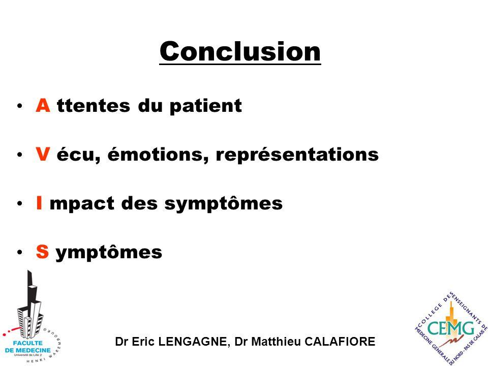 Dr Eric LENGAGNE, Dr Matthieu CALAFIORE Conclusion I mpact des symptômes S ymptômes A ttentes du patient V écu, émotions, représentations