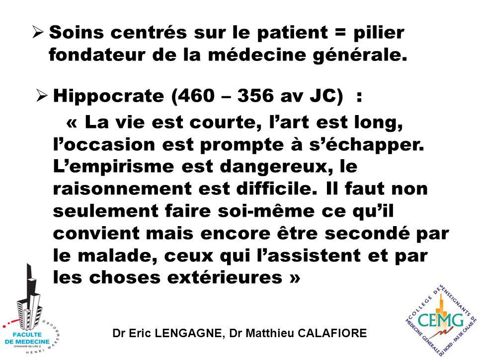 Dr Eric LENGAGNE, Dr Matthieu CALAFIORE  Hippocrate (460 – 356 av JC) : « La vie est courte, l'art est long, l'occasion est prompte à s'échapper.