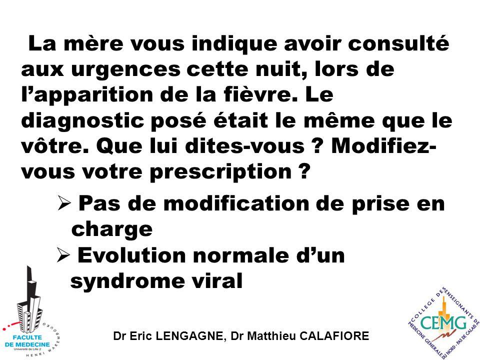 Dr Eric LENGAGNE, Dr Matthieu CALAFIORE La mère vous indique avoir consulté aux urgences cette nuit, lors de l'apparition de la fièvre.