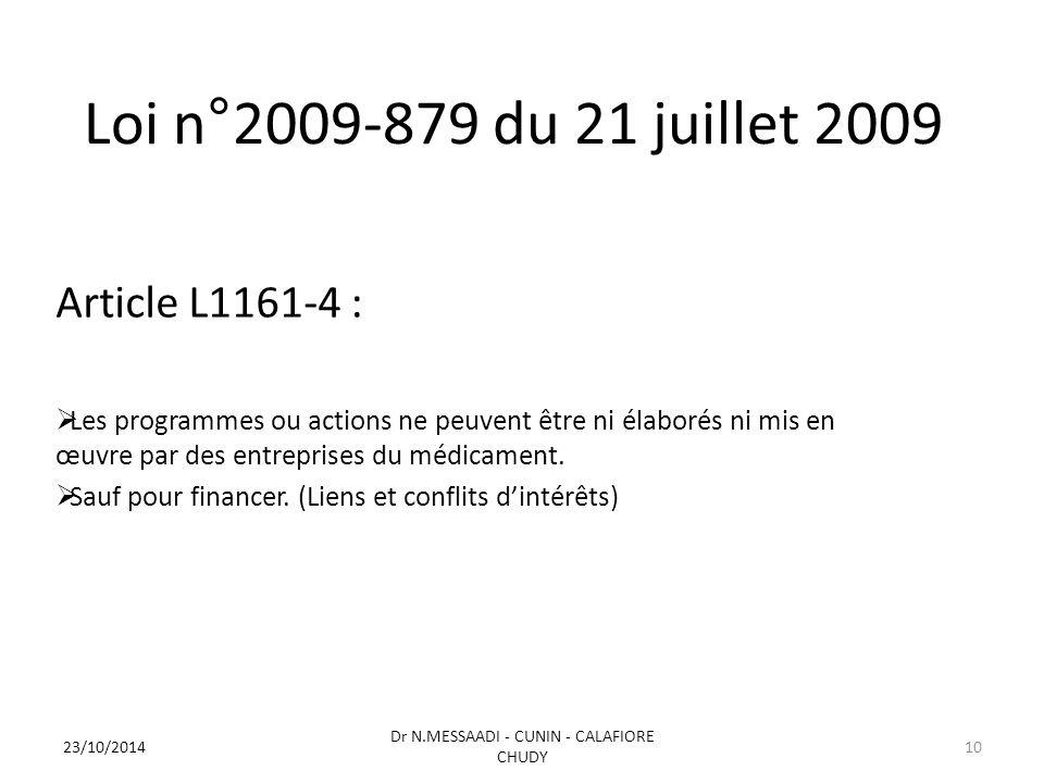 Loi n°2009-879 du 21 juillet 2009 Article L1161-4 :  Les programmes ou actions ne peuvent être ni élaborés ni mis en œuvre par des entreprises du médicament.