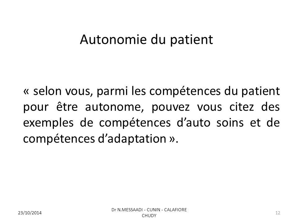 Autonomie du patient « selon vous, parmi les compétences du patient pour être autonome, pouvez vous citez des exemples de compétences d'auto soins et de compétences d'adaptation ».