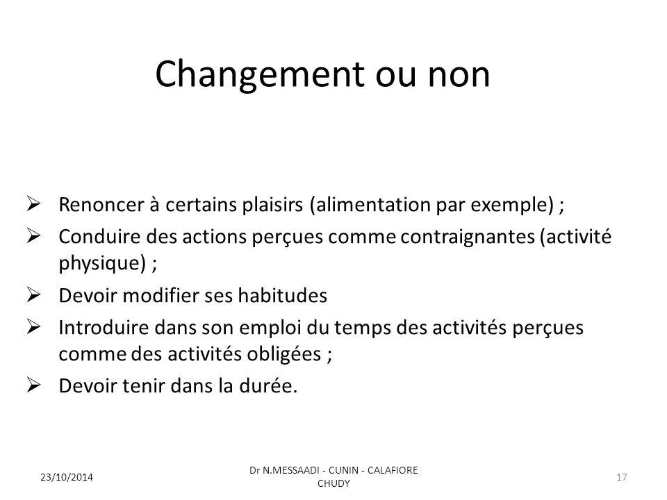 Changement ou non  Renoncer à certains plaisirs (alimentation par exemple) ;  Conduire des actions perçues comme contraignantes (activité physique)