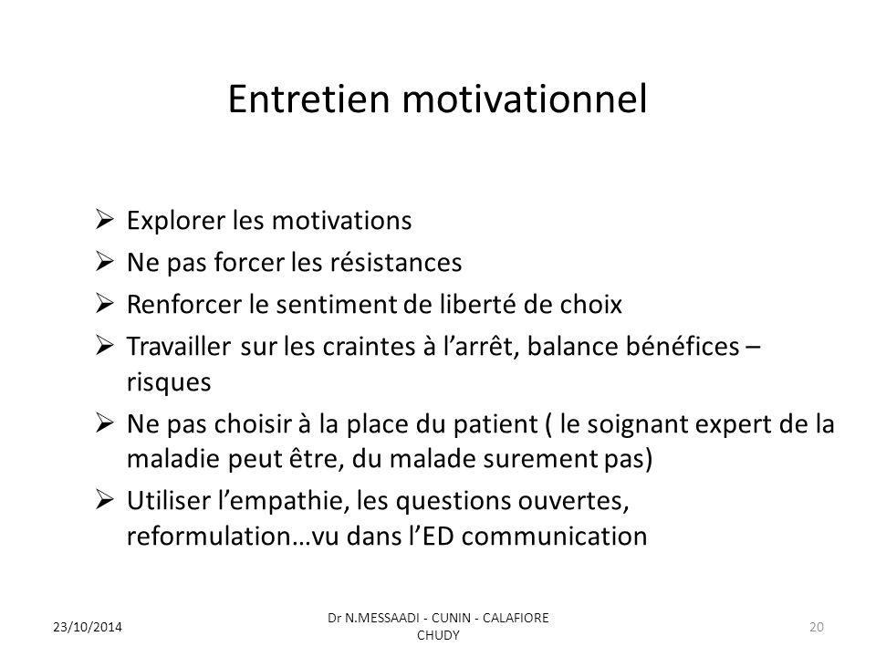 Entretien motivationnel  Explorer les motivations  Ne pas forcer les résistances  Renforcer le sentiment de liberté de choix  Travailler sur les c