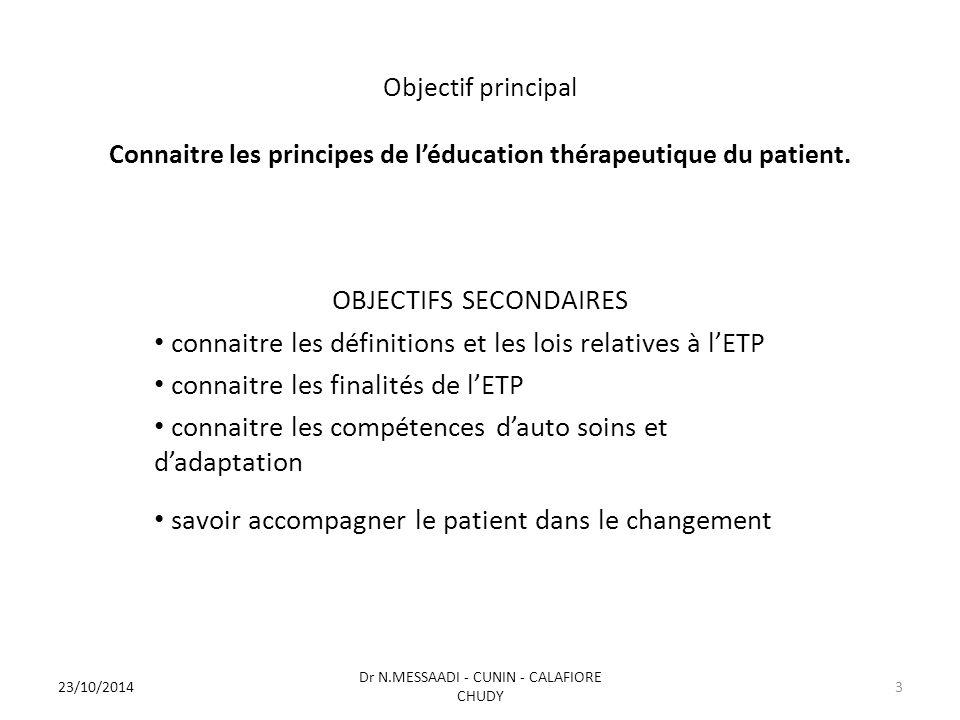 Objectif principal Connaitre les principes de l'éducation thérapeutique du patient. OBJECTIFS SECONDAIRES connaitre les définitions et les lois relati