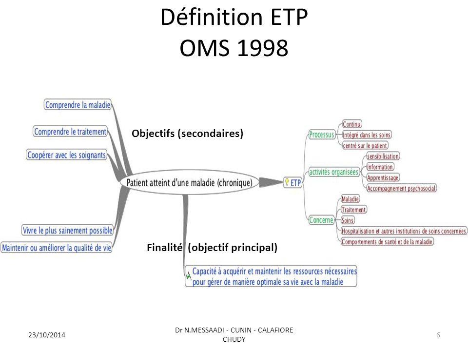 Définition ETP OMS 1998 Objectifs (secondaires) Finalité (objectif principal) 23/10/2014 Dr N.MESSAADI - CUNIN - CALAFIORE CHUDY 6