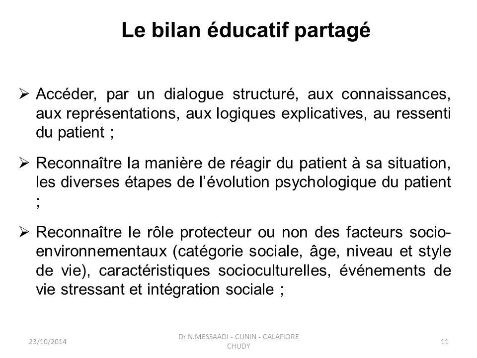 Le bilan éducatif partagé  Accéder, par un dialogue structuré, aux connaissances, aux représentations, aux logiques explicatives, au ressenti du pati